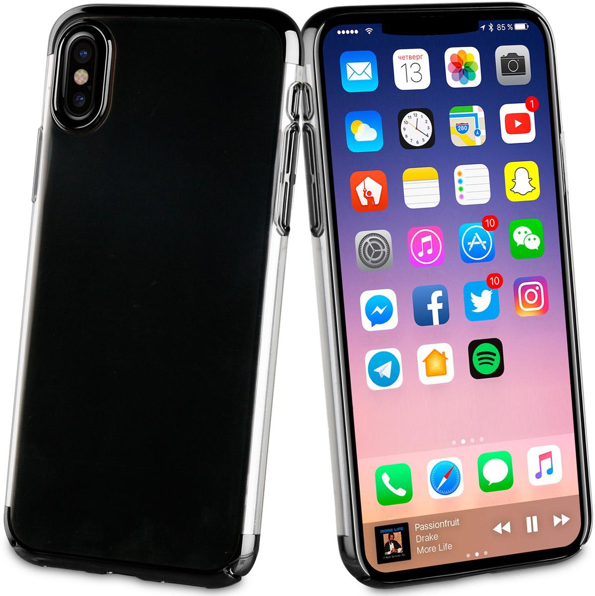Muvit Crystal Case чехол для Apple iPhone X, BlackMUCRY0169Тонкий защитный чехол Crystal это прозрачный чехол. Выполнен из термополиуретана, поскольку этот материал поглощает удары. Обеспечивает эффективную защиту Вашего устройства.Материал термополиуретанПрозрачныйПротивоударный