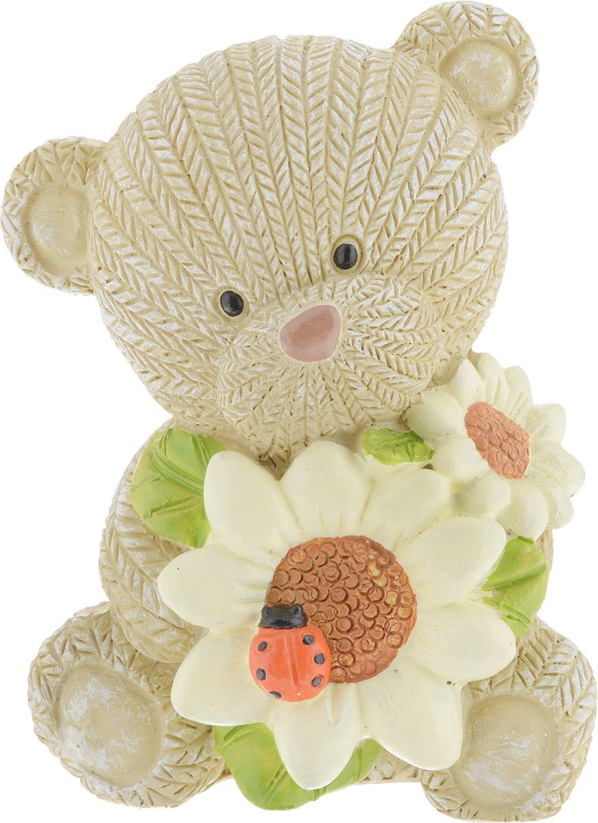 Фигурка декоративная Magic Home Мишка с подсолнухами, 7,3 х 6,4 х 9,1 см цена
