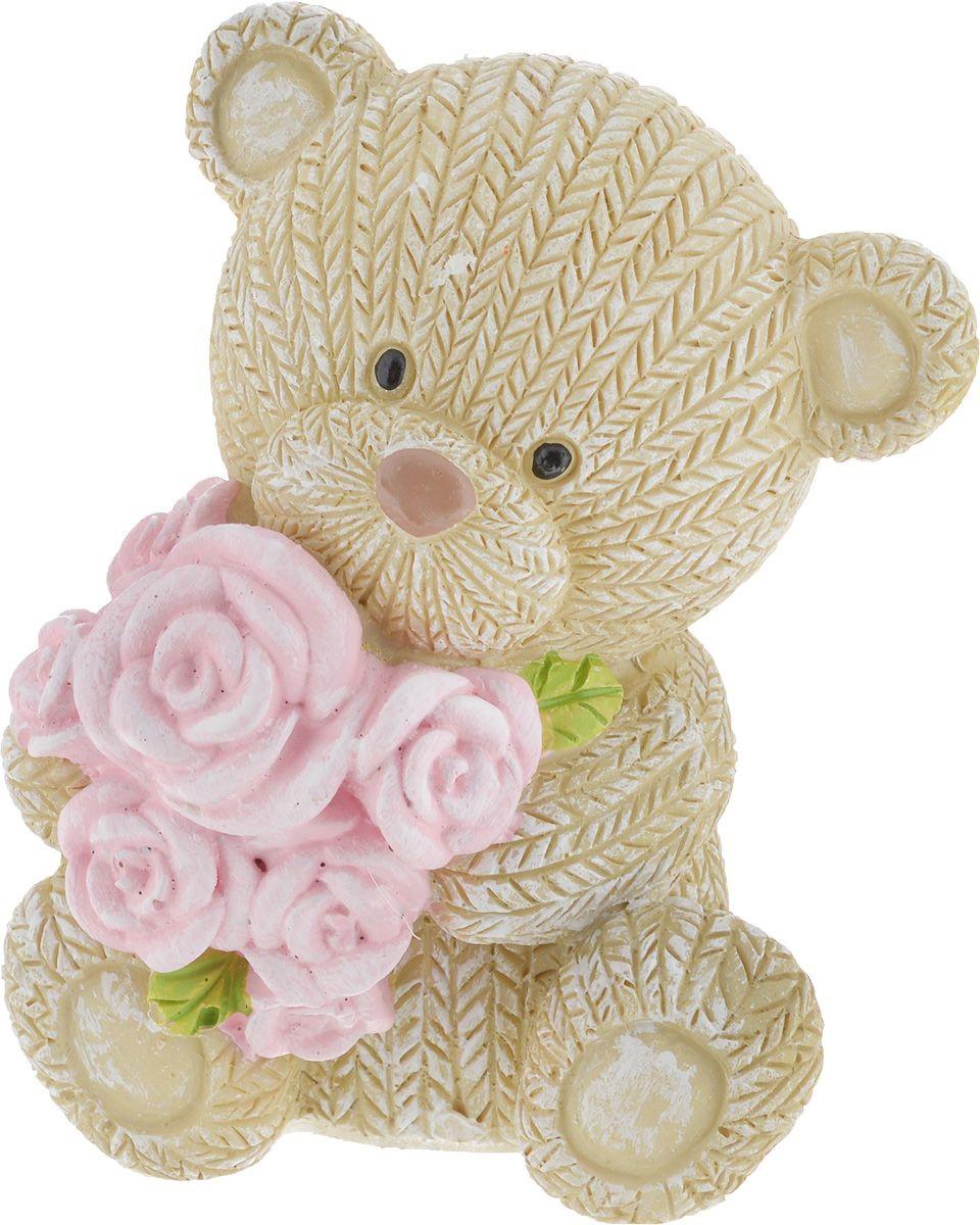 Фигурка декоративная Magic Home Мишка с розами, 7,5 х 6,5 х 9,1 см цена