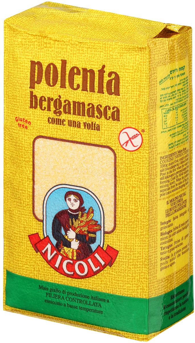 Nicoli Bergamasca мука кукурузная полента, 1 кг6326Полента из кукурузной крупы – это простая северо-итальянская закуска, которую в просторечье можно «обозвать» твердой кашей.Как правило, итальянская полента делается из муки кукурузных зерен, но допускается применение и очень мелкой крупы.Гарнир из поленты выделает низкая калорийность и небольшие противопоказания.
