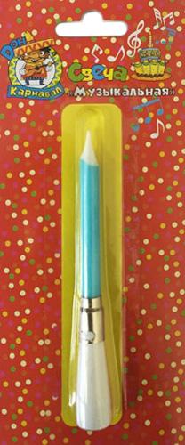 Miland Свеча для торта музыкальная цвет голубой сервировка стола