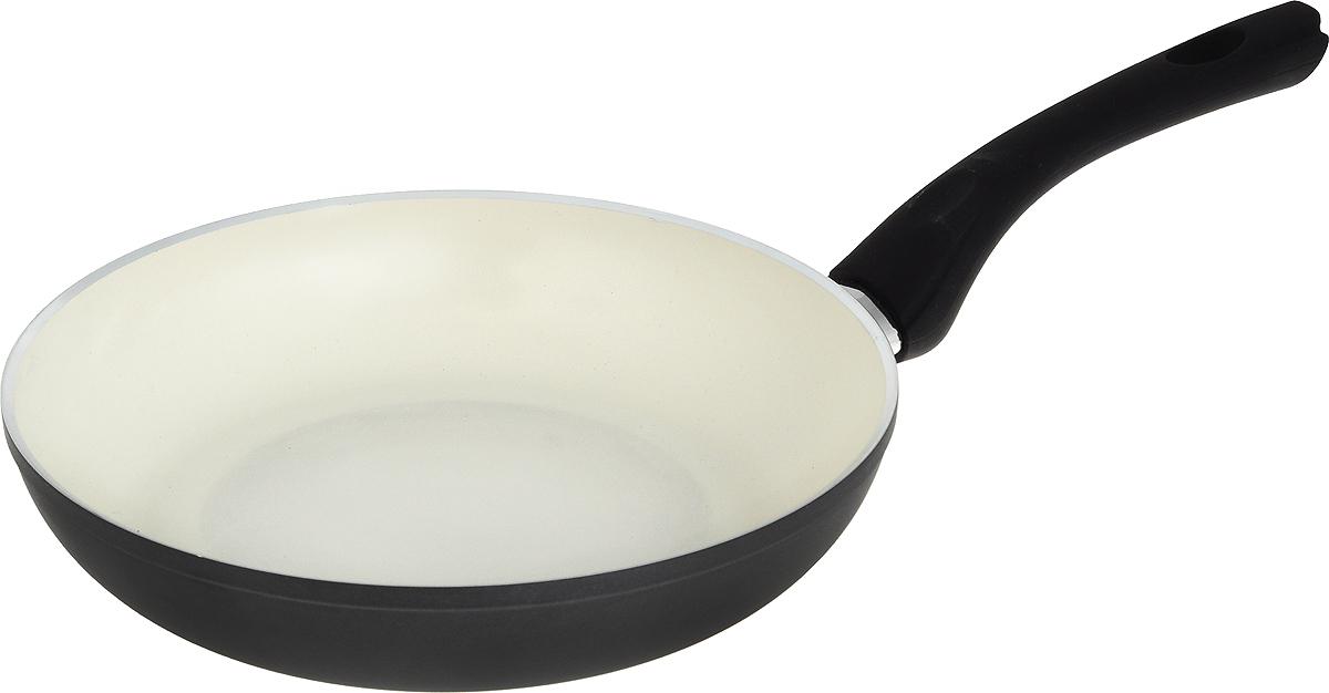"""Сковорода Vitesse """"Black-and-White"""", с керамическим покрытием, цвет: черный, белый. Диаметр 24 см"""