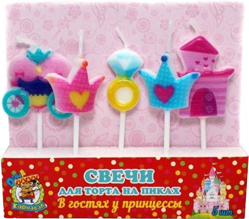 Miland Свечи для торта на пиках В гостях у принцессы 5 шт
