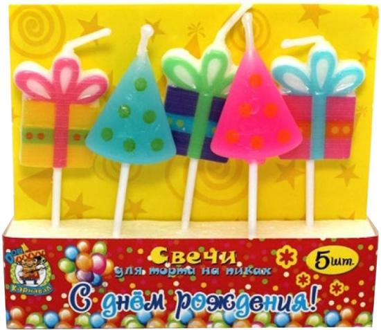 Miland Свечи для торта на пиках С Днем Рождения 5 шт