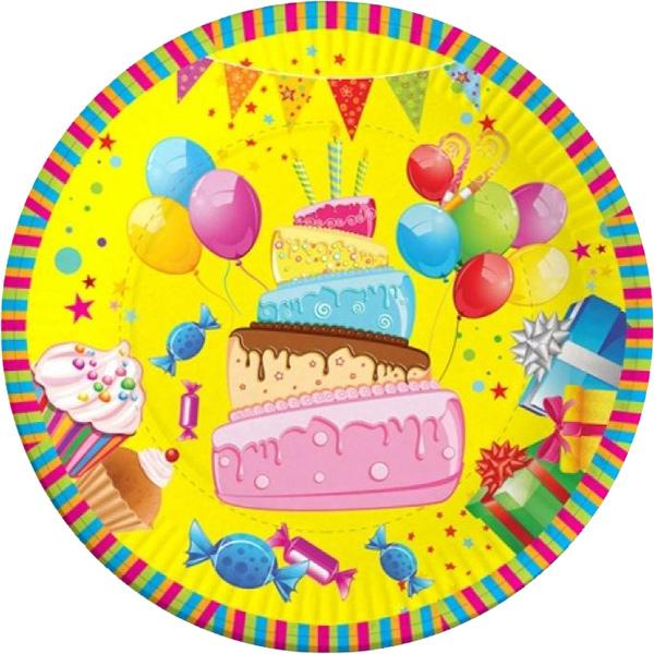 Miland Тарелка бумажная Веселого Дня рождения 17 см 6 шт miland тарелка бумажная футбольный матч 17 см 6 шт