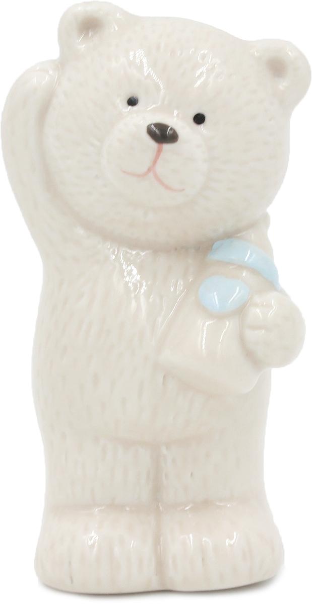 Фигурка декоративная Magic Home Мишка с голубой бутылочкой, 4,5 х 5 х 8,5 см цена