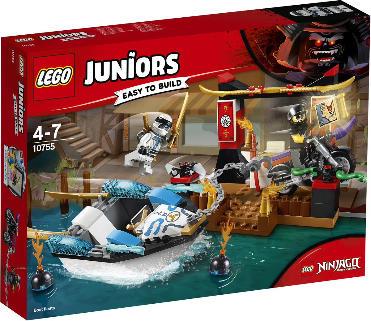 LEGO Juniors Конструктор Погоня на моторной лодке Зейна 10755 конструктор lego juniors ветеринарная клиника мии 10728
