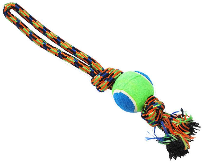 Грейфер для собак №1, с мячом, 36 смГР095Игрушка-грейфер для собак №1 оснащена мячиком и отлично подойдет для перетягивания. Благодаря веревке, сплетенной из хлопковых нитей, грейфер поможет поддерживать гигиену зубов собак и массажировать десны.