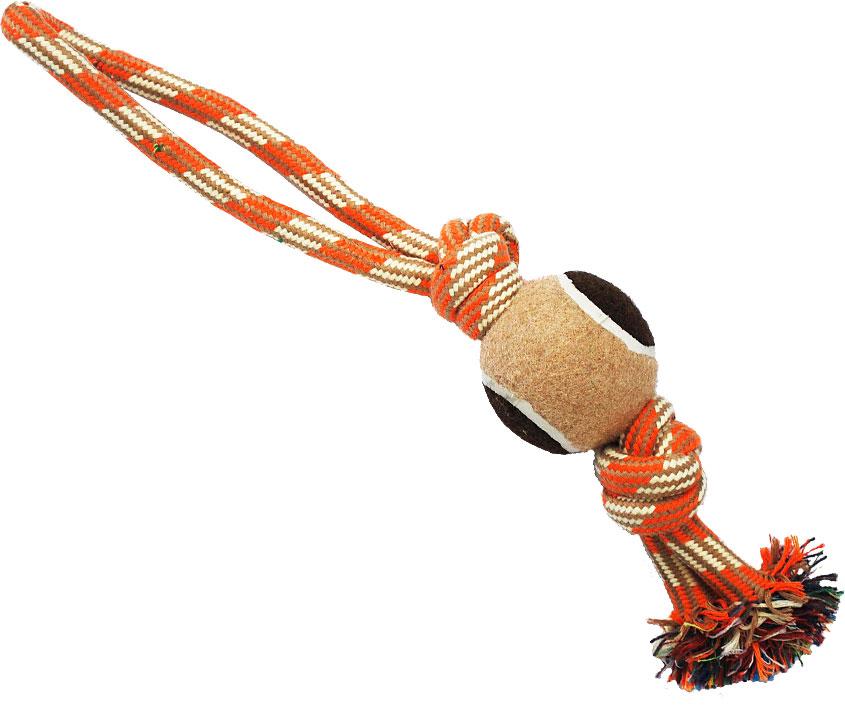 Грейфер для собак №1, 2 узла, с мячом, 38 смГР1011Благодаря веревке, сплетенной из хлопковых нитей, игрушка-грейфер поможет поддерживать гигиену зубов собак и массажировать десны.