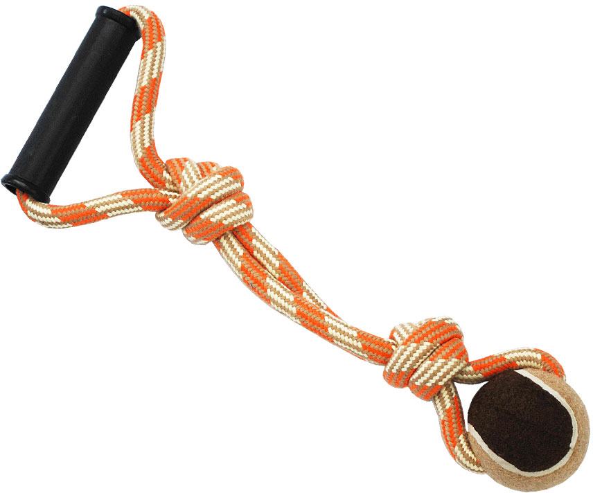 Грейфер для собак №1, с мячом и ручкой, 38 см. ГР1021ГР1021Игрушка-грейфер для собак №1 оснащена мячиком и отлично подойдет для перетягивания. Благодаря веревке, сплетенной из хлопковых нитей, грейфер поможет поддерживать гигиену зубов собак и массажировать десны.