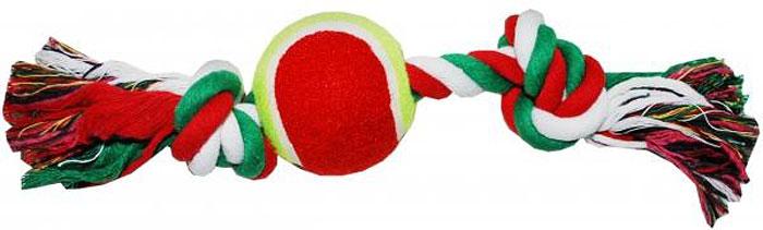 Грейфер для собак №1, 2 узла, с теннисным мячом, 28 смГР1030Игрушка-грейфер для собак №1 оснащена мячиком и отлично подойдет для перетягивания. Благодаря веревке, сплетенной из хлопковых нитей, грейфер поможет поддерживать гигиену зубов собак и массажировать десны.