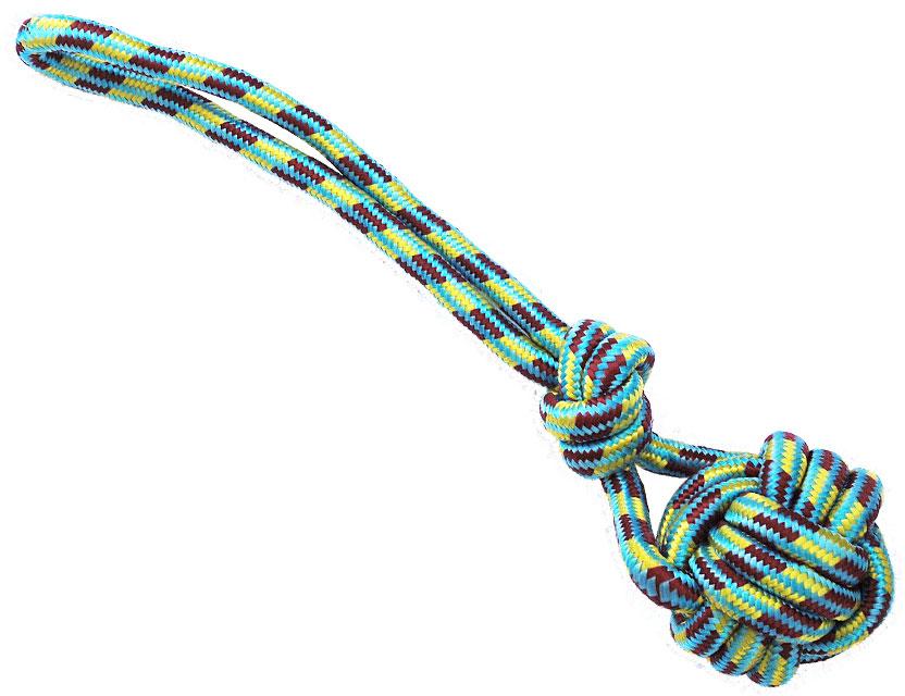 Грейфер для собак №1, с мячом и ручкой, 40 смГР108Игрушка-грейфер для собак №1 оснащена мячиком и отлично подойдет для перетягивания. Благодаря веревке, сплетенной из хлопковых нитей, грейфер поможет поддерживать гигиену зубов собак и массажировать десны.