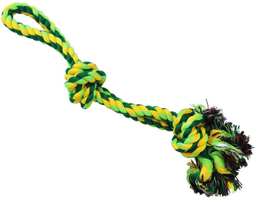 Грейфер для собак №1, 2 узла, с ручкой, 40 смГР341Благодаря веревке, сплетенной из хлопковых нитей, игрушка-грейфер для собак №1 поможет поддерживать гигиену зубов собак и массажировать десны.