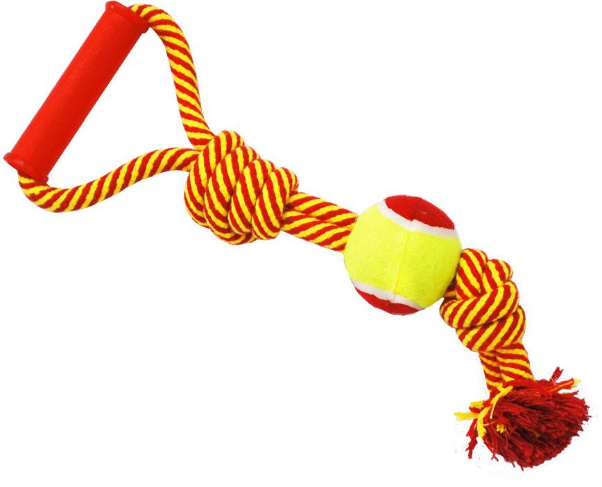 Грейфер для собак №1, 2 узла, с мячом и ручкой, 40 смГР875Игрушка-грейфер для собак №1 оснащена мячиком и удобной ручкой и отлично подойдет для перетягивания. Благодаря веревке, сплетенной из хлопковых нитей, грейфер поможет поддерживать гигиену зубов собак и массажировать десны.