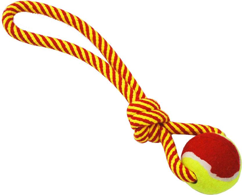 Грейфер для собак №1, с мячом и ручкой, 32 смГР884Игрушка-грейфер для собак №1 оснащена мячиком и отлично подойдет для перетягивания. Благодаря веревке, сплетенной из хлопковых нитей, грейфер поможет поддерживать гигиену зубов собак и массажировать десны.