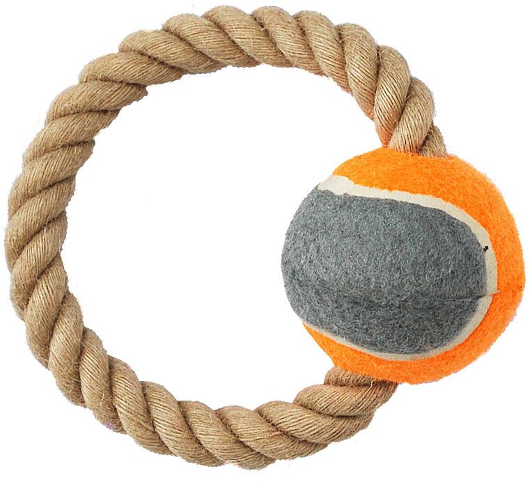 Грейфер для собак №1, с мячом, 16 смГР898Игрушка-грейфер для собак №1 оснащена мячиком и отлично подойдет для перетягивания. Благодаря веревке, сплетенной из пеньковых нитей, игрушка-грейфер поможет поддерживать гигиену зубов собак и массажировать десны.