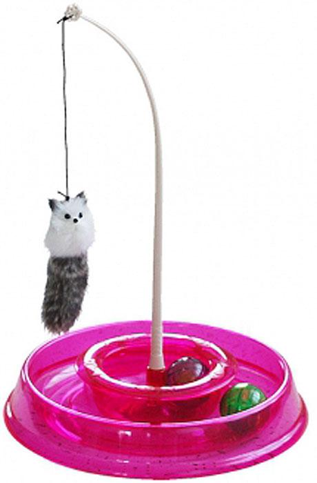 Игрушка для кошек №1 Лабиринт, с двумя мячиками и дразнилкой, 28 x 5 x 28 см для кошки