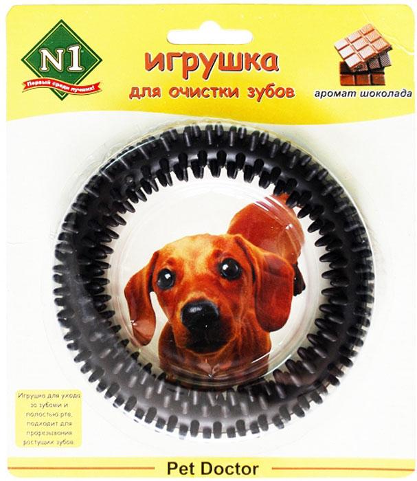 Игрушка для собак №1 Кольцо с шипами, с ароматом шоколада, диаметр 16 смДи720шИгрушка для собак №1 предназначена для ухода за зубами и полостью рта. Подходит для прорезывания растущих зубов. Шипы на игрушке эффективно очистят зубы и десны собаки. А приятный аромат шоколада не оставит ее равнодушной.
