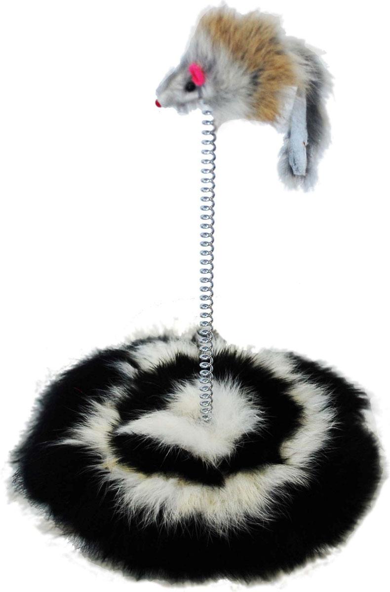 Игрушка для кошек Уют Мышь, на пружинке, с подставкой, 15 x 20 смИУ33У игрушки хорошее, деревянное основание, обшитое натуральным мехом. Ее достаточно сложно перевернуть, она очень устойчивая.