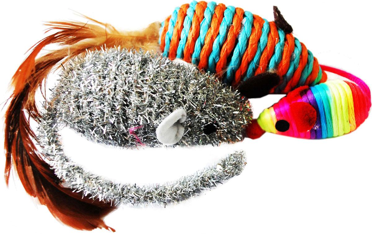 Игрушка для кошек Уют Мышь, 3 штИУ54Игрушки Уют изготовлены из нетоксичных материалов, которые не принесут вреда вашему питомцу. Игрушки выполнены в виде мышей из материалов разных фактур. Это идеальный набор игрушек для кошек.