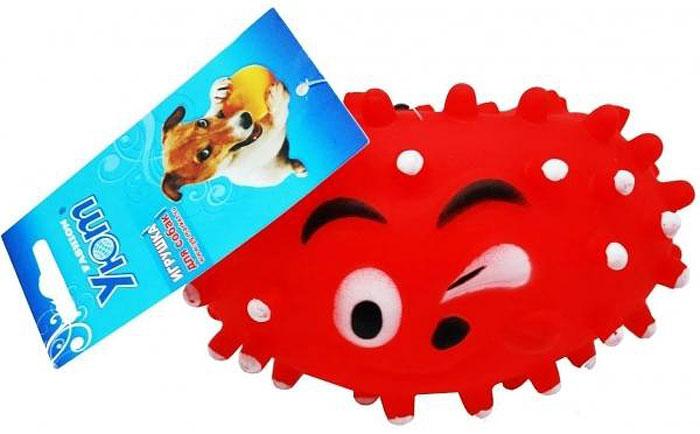 Игрушка для собак Уют Мячик с рожицей и шипами, овальный, 13,5 x 8,5 см игрушка для собак уют сыр с мышкой 11 x 5 см
