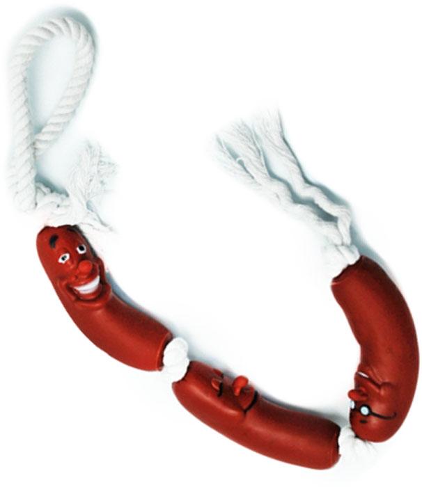 Игрушка для собак Уют Три сосиски на веревке, 50 смИШ39Игрушка для собак Уют выполнена из винила в виде трех сосисок на веревке. Подходит для собак мелких и средних пород. Прочные безопасные материалы. Яркая, привлекательная расцветка.