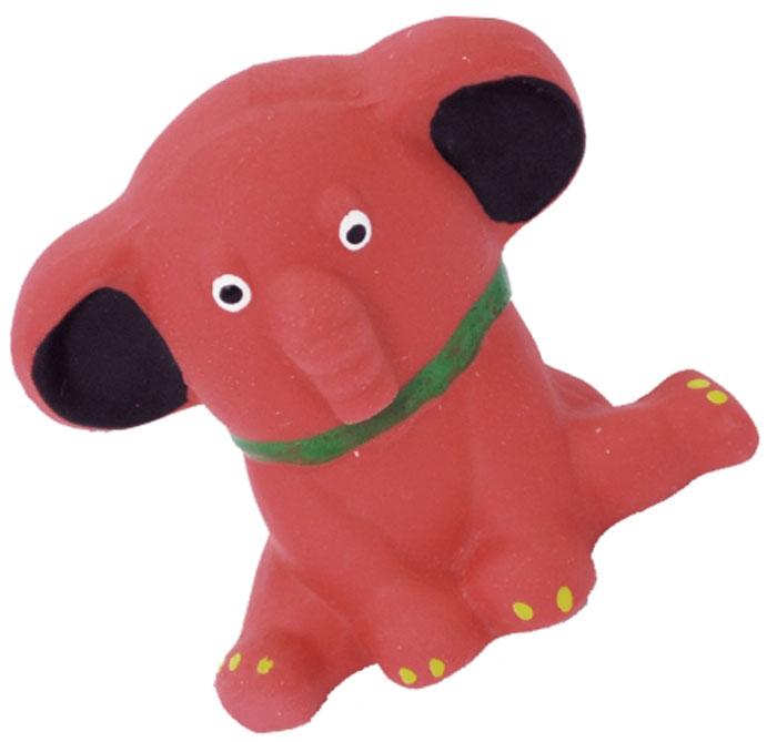 Игрушка для собак №1 Слоненок, с пищалкой, цвет: красный, 10 смЛС5Игрушка для собак №1 выполнена в виде слоненка. Собаки очень любят играть. Игрушка оснащена пищалкой, благодаря которой собака с радостью ее хватает и подбрасывает.