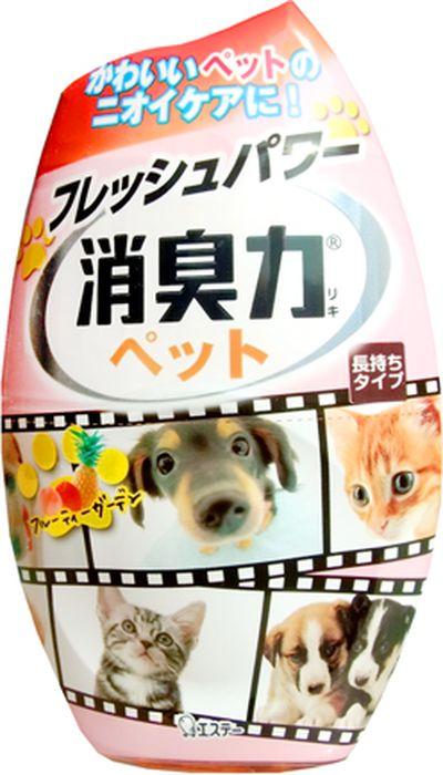 Дезодорант-ароматизатор для комнат ST Shoushuuriki, против запаха домашних животных, c ароматом фруктового сада, 400 мл121328Серия дезодорирующих ароматизаторов Shoushuuriki (дезодорирующая сила) для комнат предлагает Вам букет восхитительных ароматов на любой вкус. Особенностью продукта является наличие в составе природных дезодорирующих компонентов, которые быстро и эффективно избавят от неприятных запахов, наполнив комнату сочным, бодрящим ароматом фруктового сада. Флакон ароматизатора с функцией регулирования интенсивности аромата обладает простым дизайном, идеально подходящим для комнаты.