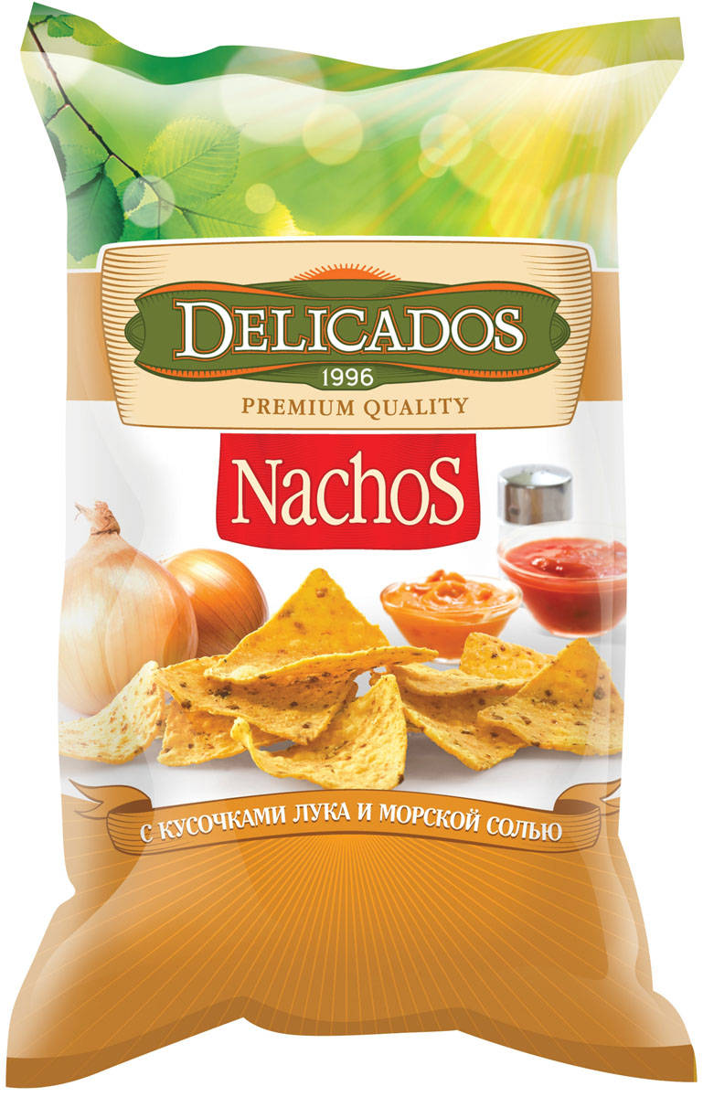 Delicados чипсы кукурузные лук морская соль, 75 г
