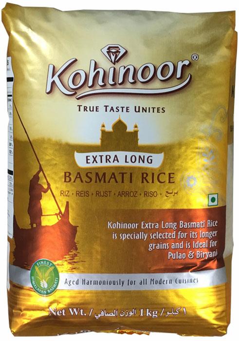 Kohinoor рис элитный экстрадлинный золотой басмати пропаренный, 1 кг метака рис басмати 800 г
