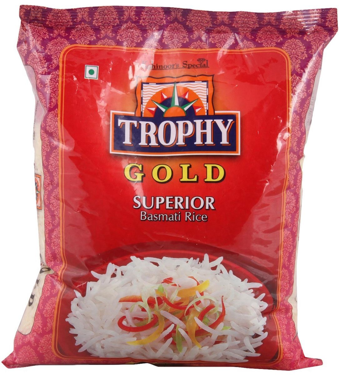 Kohinoor трофей басмати, 1 кг рис националь золотистый 900г