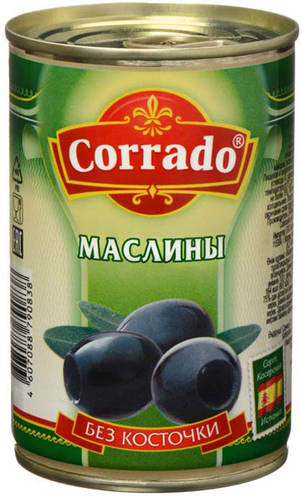 Corrado маслины без косточки, 300 г маслины без косточки принцесса вкуса 300 мл