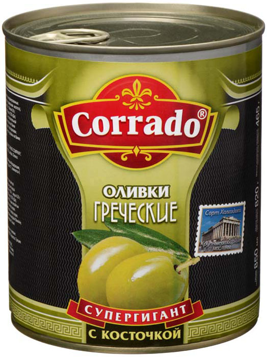 Corrado оливки супергигант с косточкой, 850 г delphi маслины с косточкой натуральные в рассоле 350 г