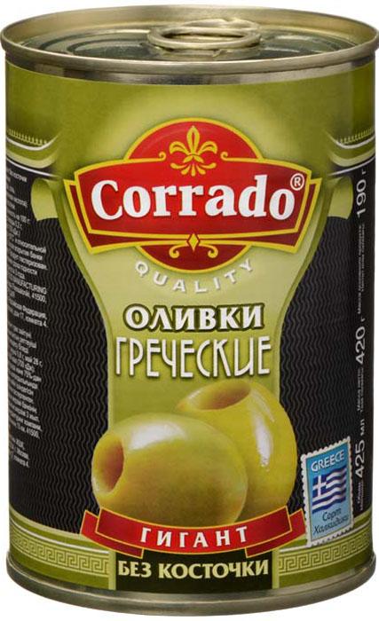 Corrado оливки гигант без косточки, 425 г santolino оливки гигант зеленые без косточки 314 мл