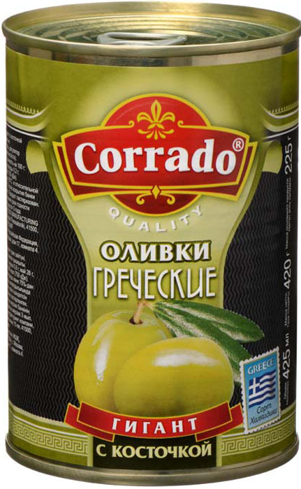 Corrado оливки гигант с косточкой, 425 г guerola оливки сорта арбекина с косточкой 370 г