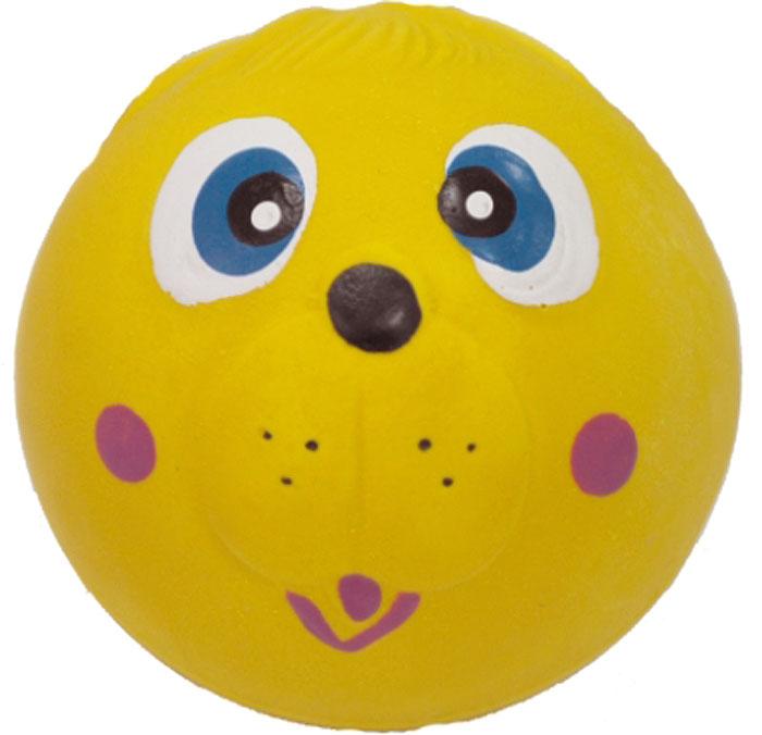 Игрушка для собак №1 Мяч-мордашка, с пищалкой, цвет: желтый, 6 см трикси игрушка для собак собака 28 см