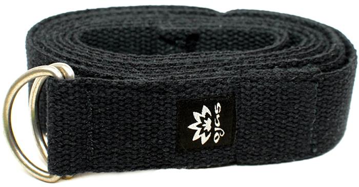Ремень для йоги Ojas Cotton Natural, цвет: черный, 4 х 240 см цена