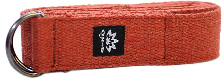 Ремень для йоги Ojas Cotton Natural, цвет: терракот, 4 х 240 см