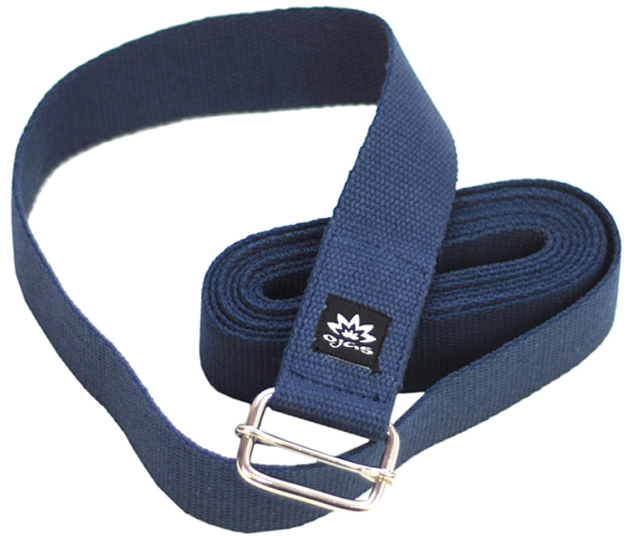 Ремень для йоги Ojas Cotton Natural Long, цвет: темно-синий, 4 х 300 см цена