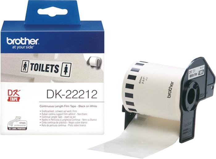 Brother DK22212, White лента для матричного принтера 62 ммDK22212Лента Brother DK22212 пленочная клеящаяся белая 62мм*15,24м