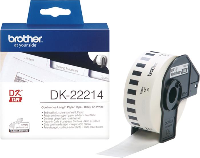 Brother DK22214, White лента для матричного принтера 12 ммDK22214Лента Brother DK22214 бумажная клеящаяся белая 12мм*30,48м