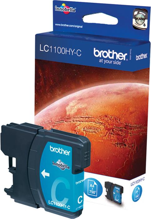 Brother LC1100HYC, Cyan картридж для Brother DCP-6690CWLC1100HYCКартридж струйный Brother LC1100HYC голубой для DCP-6690CW (750 стр)