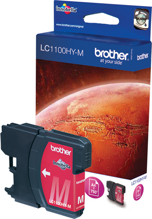 Brother LC1100HYM, Magenta картридж для Brother DCP-6690CWLC1100HYMКартридж струйный Brother LC1100HYM пурпурный для DCP-6690CW (750 стр)