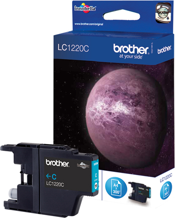 Brother LC1220C, Cyan картридж для Brother DCP-J525W/MFC-J430W/MFC-J825DWLC1220CКартридж струйный Brother LC1220C голубой для DCP-J525W/MFC-J430W/MFC-J825DW (300 стр)