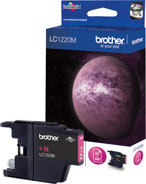 Brother LC1220M, Magenta картридж для Brother DCP-J525W/MFC-J430W/MFC-J825DWLC1220MКартридж струйный Brother LC1220M пурпурный для DCP-J525W/MFC-J430W/MFC-J825DW (300 стр)