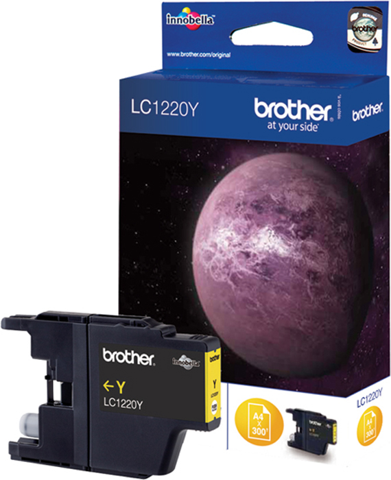 Brother LC1220Y, Yellow картридж для Brother DCP-J525W/MFC-J430W/MFC-J825DWLC1220YКартридж струйный Brother LC1220Y желтый для DCP-J525W/MFC-J430W/MFC-J825DW (300 стр)