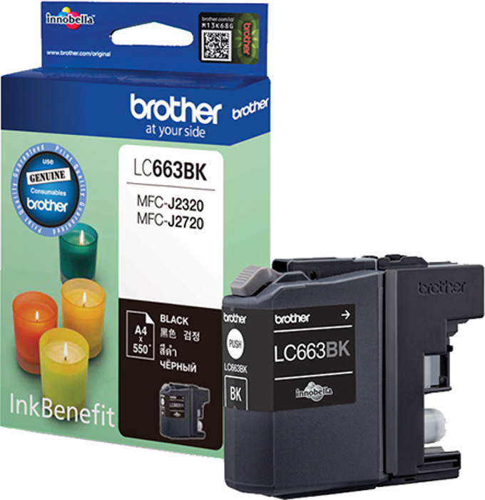 Brother LC663BK, Black картридж для Brother MFC-J2320/MFC-J2720LC663BKКартридж струйный Brother LC663BK черный для MFC-J2320/MFC-J2720 (550 стр)