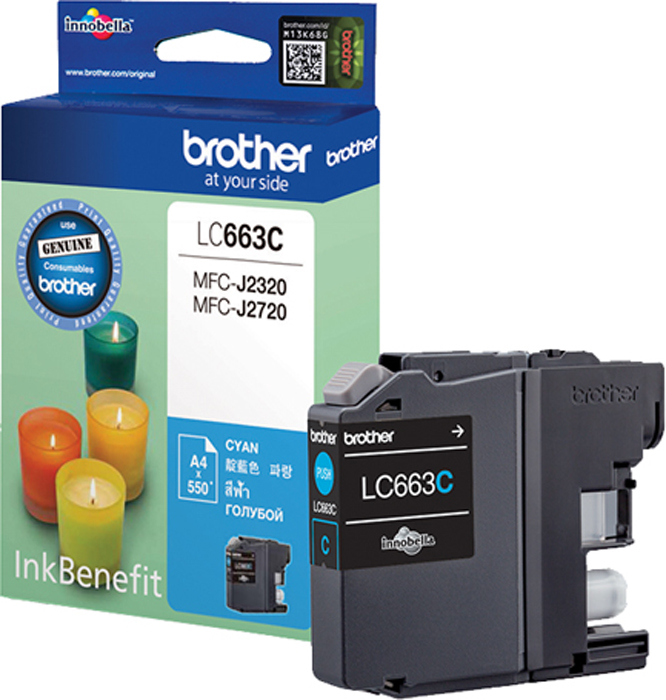 Brother LC663C, Cyan картридж для Brother MFC-J2320/MFC-J2720 brother lc1220y yellow картридж для brother dcp j525w mfc j430w mfc j825dw