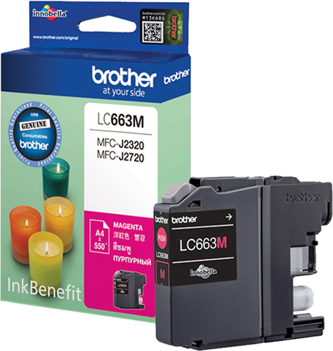 Brother LC663M, Magenta картридж для Brother MFC-J2320/MFC-J2720LC663MКартридж струйный Brother LC663M пурпурный для MFC-J2320/MFC-J2720 (550 стр)