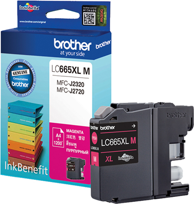 Brother LC665XLM, Magenta картридж для Brother MFC-J2320/MFC-J2720LC665XLMКартридж струйный Brother LC665XLM пурпурный для MFC-J2320/MFC-J2720 (1200 стр)
